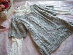大きいサイズ4L模様編みニットチュニック&小花タートル