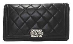 正規シャネル長財布ボーイシャネルマトラッセ財布二つ折りブラック黒CHANEL