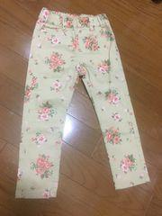 新品☆ブランシェス100☆花柄ベージュストレッチスキニーパンツ