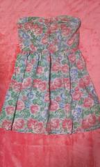 フォーエバー21 薔薇柄 水色×ピンク チューブトップ ミニワンピS 新品 激安
