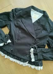 メタモルフォーゼ黒ジャケット裾フリルレースリボン使いロリータ