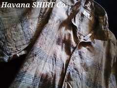 【Havana Shirt Co.】Vintage Washed カジュアルリネンシャツ(麻)M/Green