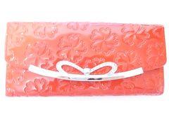 プレゼントに!エナメル花柄リボンかわいい長財布がま口赤