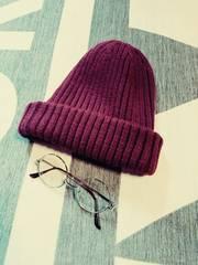 earthmusic&ecology リブニット帽 wool混