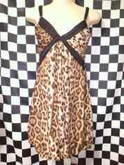 【LIP SERVICEリップ】ヒョウ柄キャミ風&バック見せブラ風ミニワンピ裾バルーン