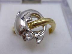 K18 Pt900 イルカ 0.10ct ダイヤモンドリング 11.5号