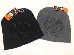 新品 ニット帽 2点セット 黒 グレー ラインストーン メンズ