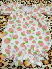 *新生児〜用*ハート型押しイチゴ柄カバーオール*50-70