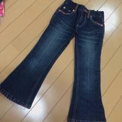ドクロ刺繍◆カラーステッチ可愛いブーツカットデニム◆110
