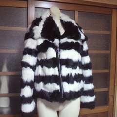 MURUA/ムルーア白×黒リアルファー ラビット ライダース ジャケット