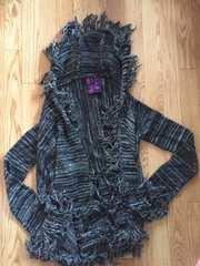 新品タグ付d.i.aダイアフリンジニットカーディガンアウターポンチョ風コートセーター