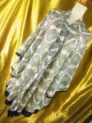 ゆったり&袖広裾レース使い七分袖カーディガンL
