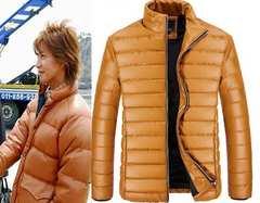 ★高級メンズダウンジャケット カッコイイ キャメル ホントに暖かいです L