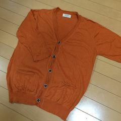 新品◆綿麻Vネックカーディガン◆Lオレンジ◆ライトオン
