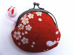 和小物 和柄がま口財布サイフ・小銭入れ桜うさぎ赤