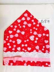 リボン柄☆すっぽり三角巾(高学年向け)ハンドメイド