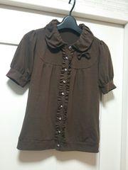 ウィルセレクションS-M★リボン付きポロシャツ半袖ブラウス茶色
