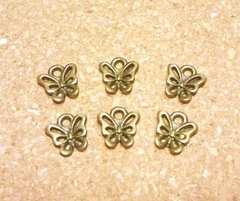 ミニチャーム蝶6個金古美