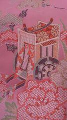 花簪典雅な御所車の織物/ピンク和風インテリアに