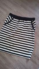 ツモリチサト ボーダータイトスカート ベロア ベージュ×黒 美品サイズ2