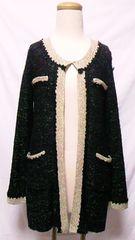 ふりふゴールドラメ&バラ刺繍パイピングミックスニットノーカラージャケットカーディガン