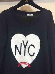 ロデオクラウンズ NYCハートフラッグニットワンピ黒