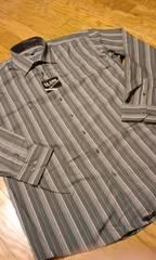 LA GATE デザイン長袖ストライプシャツ黒ブルー4XLXXXXL→3XLXXXL位�B南