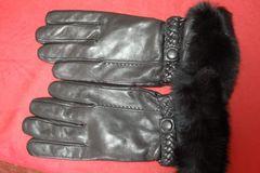 暖か!ラビットファーカウスライナーニット手袋黒24