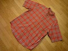 ティンバーランド メンズXLボタンダウン半袖シャツ赤チェック柄