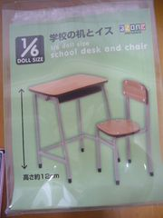 1/6 ドールサイズ 学校の 机 と 椅子 イス アゾン Azone