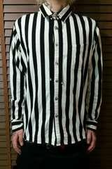 即決トライブワークスTRIBEWORKSスカル白黒ストライプネルシャツ!パンクロックロカビリースタイル