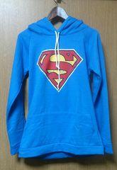 裏起毛 フード付き スーパーマン スウェット プルオーバー ブルー 長袖 未使用
