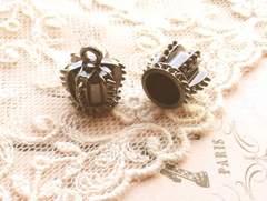クラウン型カツラ/コードエンド2個黒(ガンメタ)