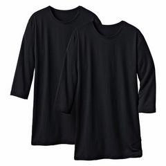LLサイズ!2枚セット!吸湿発熱!ストレッチ5分袖丈インナーシャツ!黒色