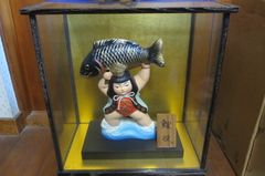 ガラスケース入り 五月人形 鯉投 昭和物