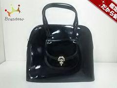 セリーヌ ハンドバッグ - 黒×ゴールド エナメル(レザー)