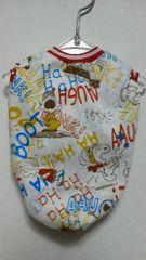 ハンドメイドスヌーピーTシャツアルファベット柄・赤・ボーダー・犬用M