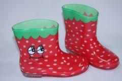 いちご柄子供用キッズレインブーツ/長靴18cmストロベリー/イチゴ