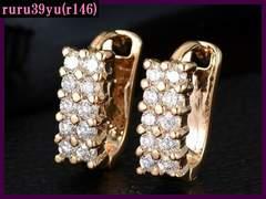 r146/高級ジルコニア/10粒ダイヤcz新型リングピアス/ゴールド