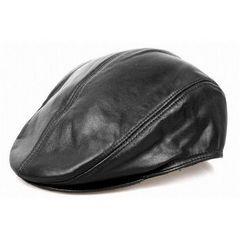 セレブレザーラム本革羊皮ハンチングベレー帽子耳あて付き黒茶