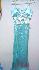 ミントグリーンジュエルビジューストーンレースリボン付サテンスリットロングドレスシャーベットカラー
