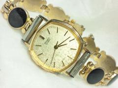 2255復活祭★SEIKOセイコー☆ブレスレット型レディース腕時計アンティークオニキス風