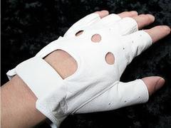 レザーグローブ 半指 本革 ドライバー 手袋  白 25cm