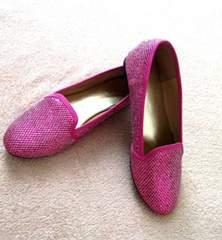 ピンク ラメ グリッター フラット パンプス Sサイズ