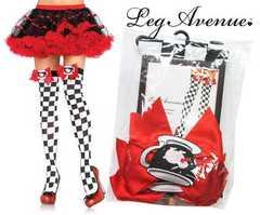 04A)LegAvenueティーカップ&リボンニーハイタイツアリス衣装コスプレダンスサイハイソックス黒白