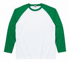 ラグラン長袖Tシャツ ホワイト×グリーンXLサイズ送料164円