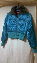 ★ダウンタイプジャンパージャケットコート ファー ブルー ★