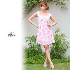 XL ドレスワンピース Jewels ピンク ローズ柄 新品 J16210