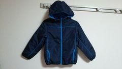 新品:サイズ130:紺×水色ジャンパー、フード付き