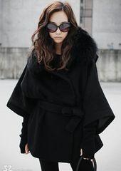 *【3L】大きいサイズ*襟ファーりぼん付き七分丈コート 黒 ブラック 即決